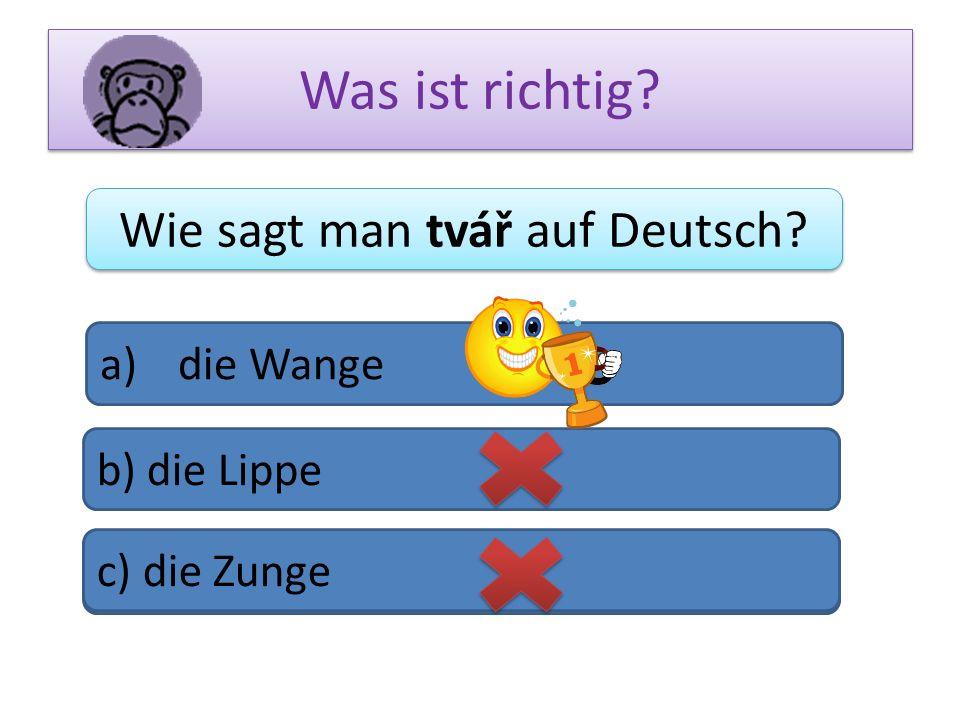 Wie sagt man tvář auf Deutsch