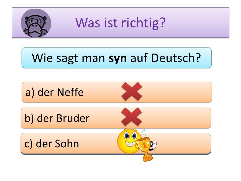 Wie sagt man syn auf Deutsch