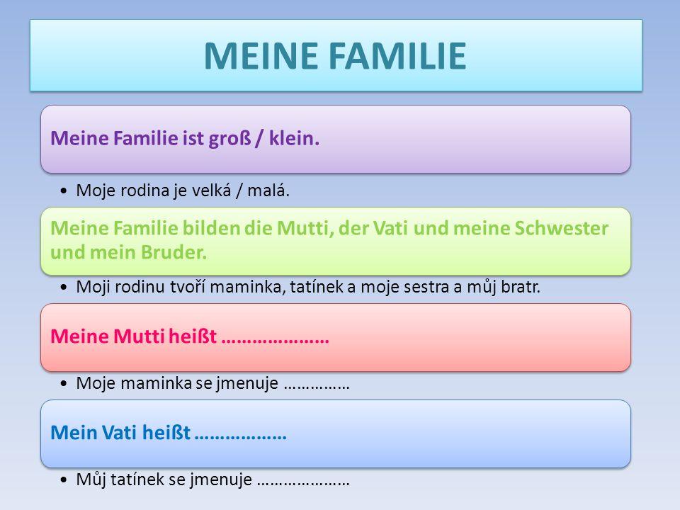 MEINE FAMILIE Meine Familie ist groß / klein.