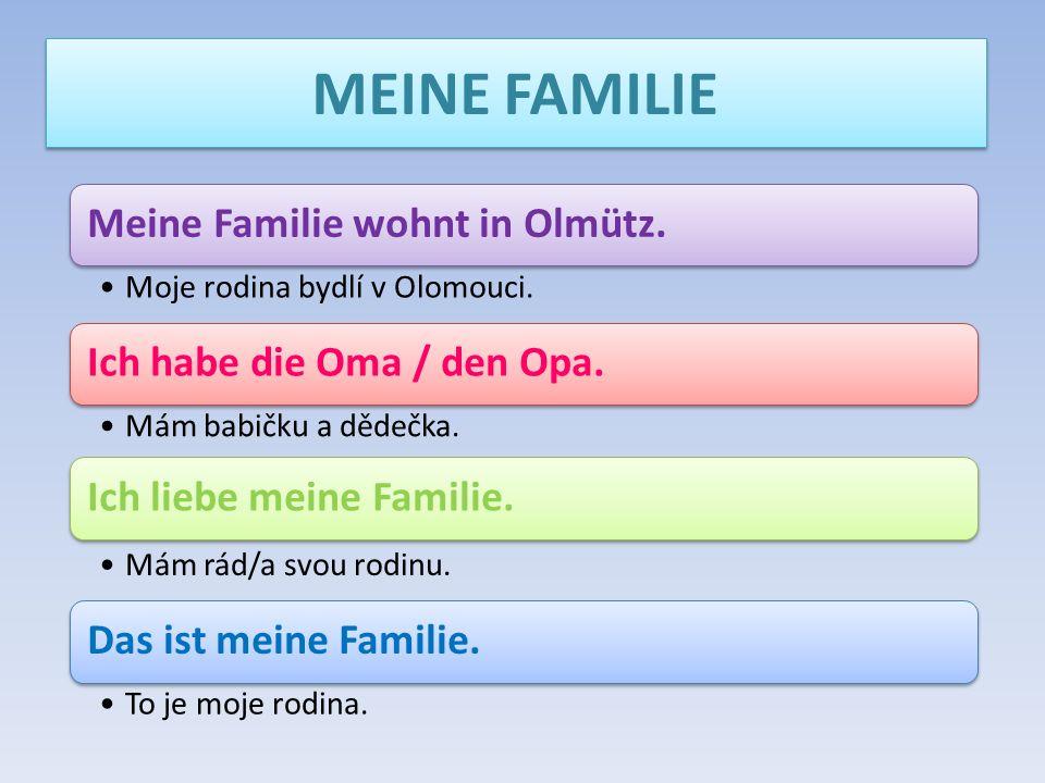 MEINE FAMILIE Meine Familie wohnt in Olmütz.