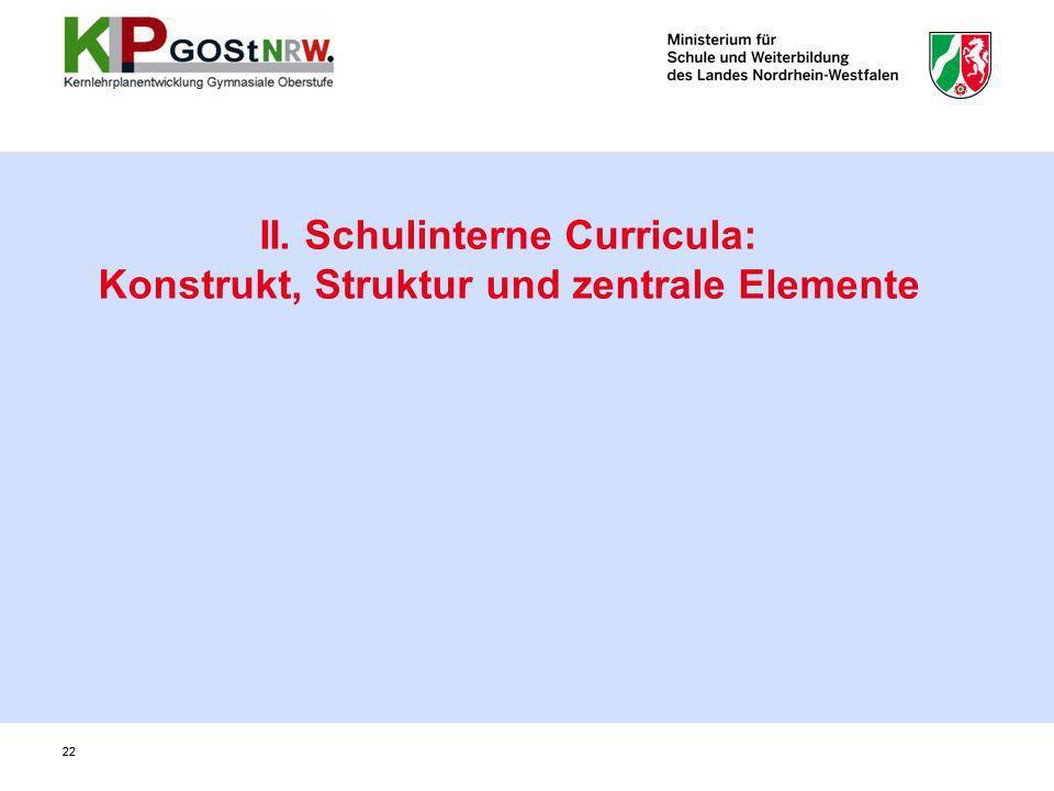 II. Schulinterne Curricula: Konstrukt, Struktur und zentrale Elemente