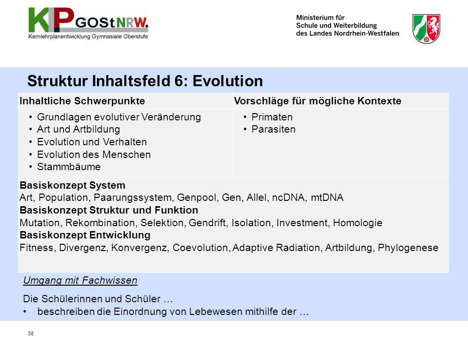 Struktur Inhaltsfeld 6: Evolution