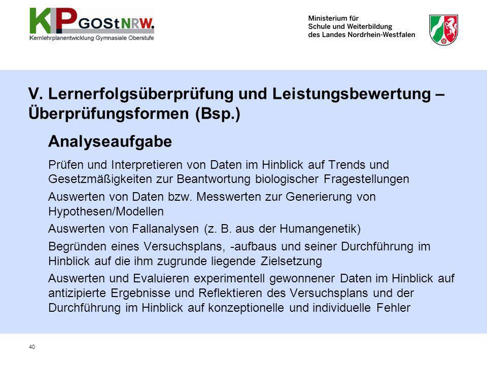V. Lernerfolgsüberprüfung und Leistungsbewertung – Überprüfungsformen (Bsp.)