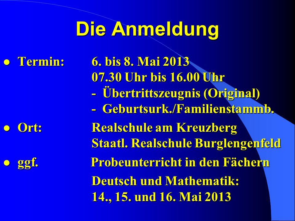 Die Anmeldung Termin: 6. bis 8. Mai 2013 07.30 Uhr bis 16.00 Uhr - Übertrittszeugnis (Original) - Geburtsurk./Familienstammb.