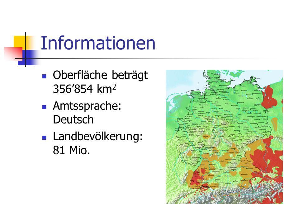 Informationen Oberfläche beträgt 356'854 km2 Amtssprache: Deutsch