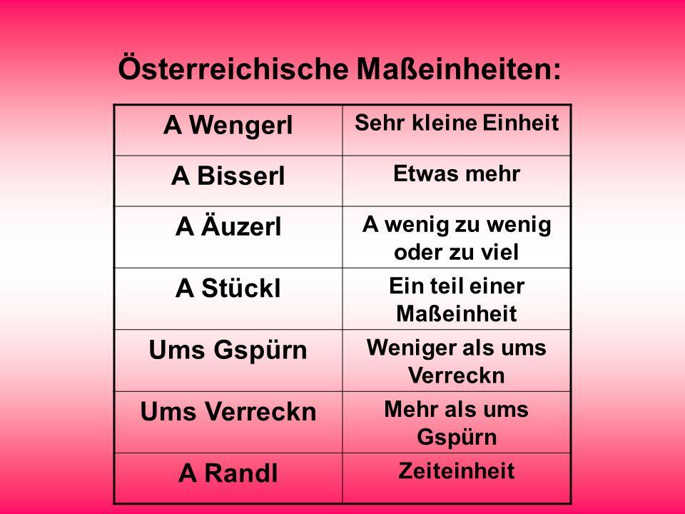 Österreichische Maßeinheiten: