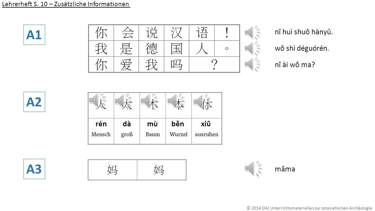 A1 A2 A3 nĭ huì shuō hànyǔ. wŏ shì déguórén. nĭ ài wŏ ma rén dà mù