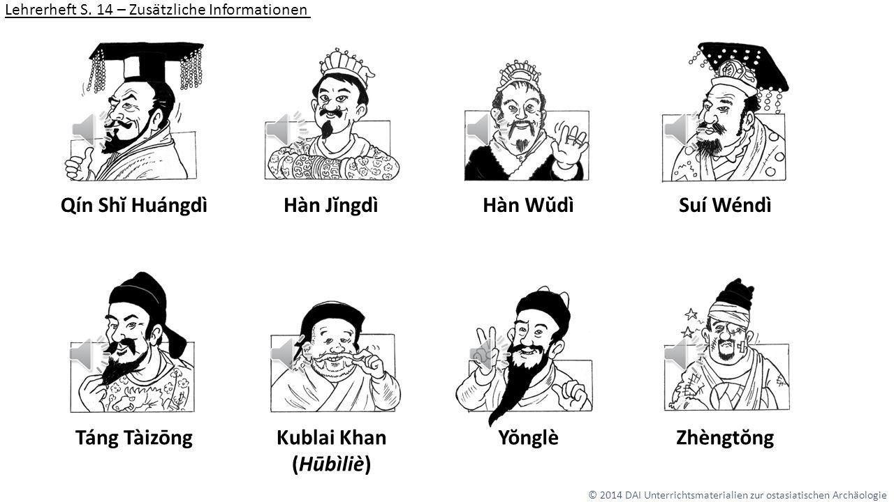 Qín Shĭ Huángdì Hàn Jĭngdì Hàn Wǔdì Suí Wéndì Táng Tàizōng Kublai Khan