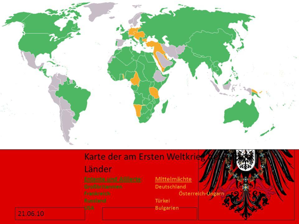 Karte der am Ersten Weltkrieg beteiligten Länder