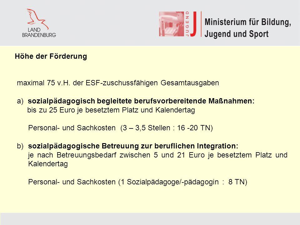 maximal 75 v.H. der ESF-zuschussfähigen Gesamtausgaben