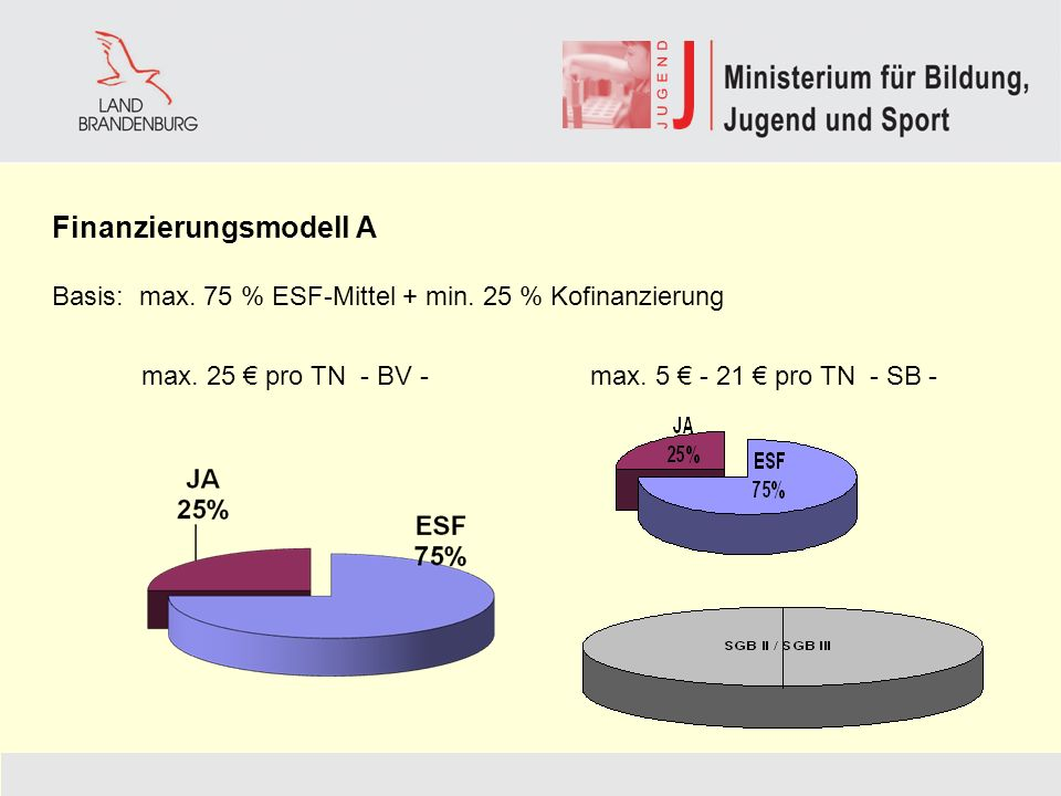 Finanzierungsmodell A Basis: max. 75 % ESF-Mittel + min