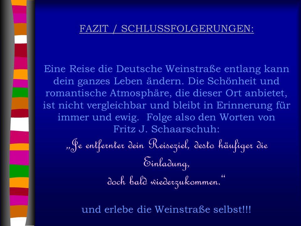 FAZIT / SCHLUSSFOLGERUNGEN: Eine Reise die Deutsche Weinstraße entlang kann dein ganzes Leben ändern.
