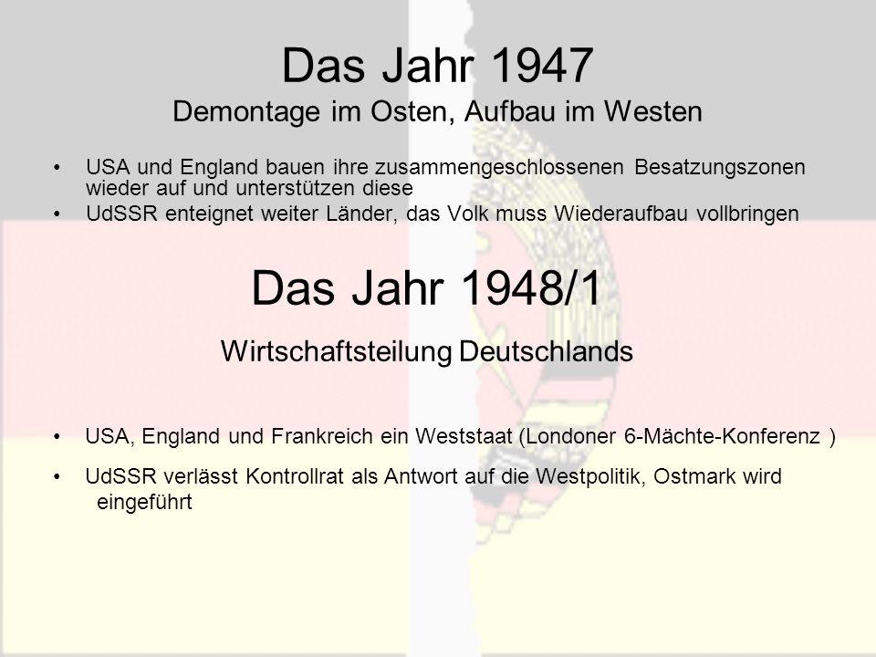 Das Jahr 1947 Demontage im Osten, Aufbau im Westen