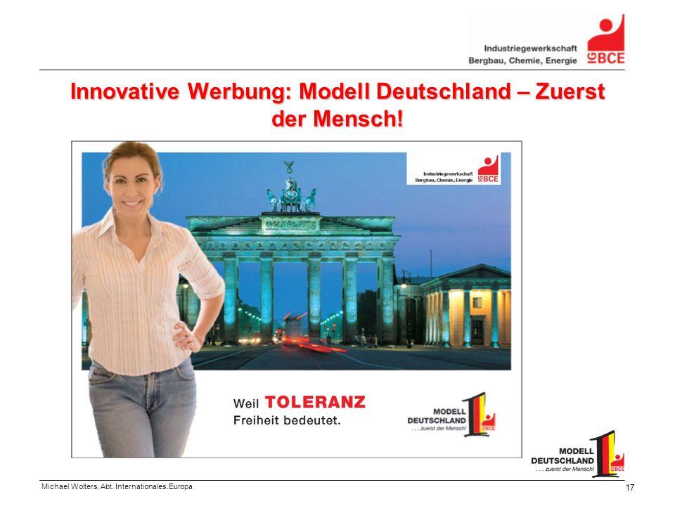 Innovative Werbung: Modell Deutschland – Zuerst der Mensch!