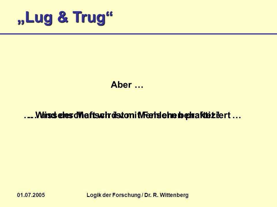 Logik der Forschung / Dr. R. Wittenberg