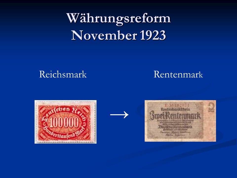 Währungsreform November 1923