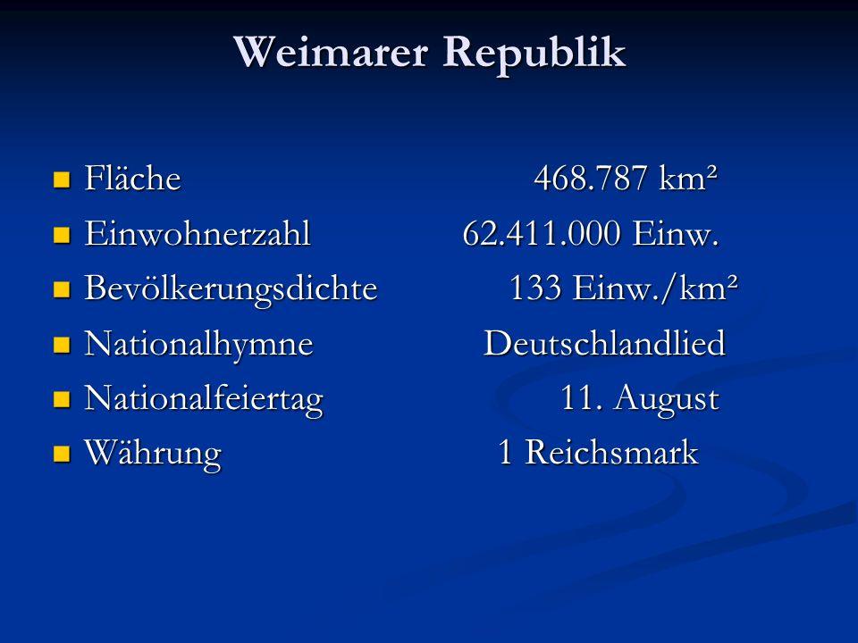 Weimarer Republik Fläche 468.787 km² Einwohnerzahl 62.411.000 Einw.