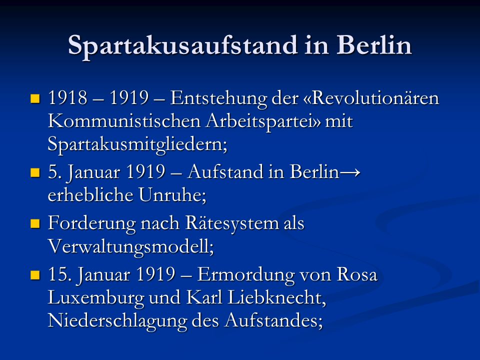 Spartakusaufstand in Berlin