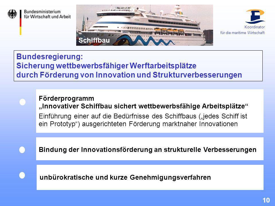 Koordinator für die maritime Wirtschaft. Schiffbau.