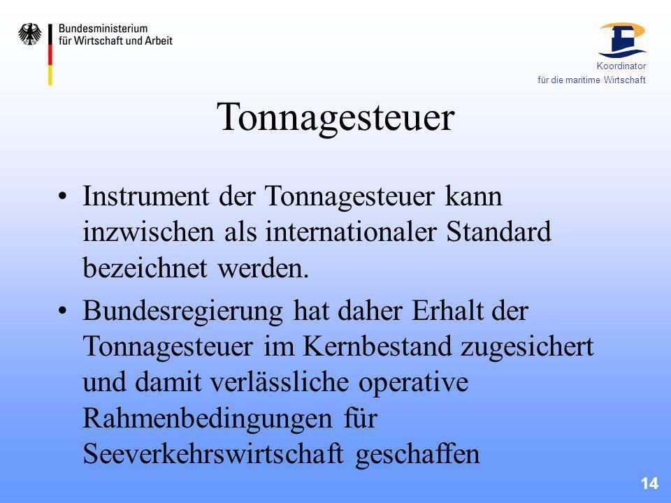 Koordinator für die maritime Wirtschaft. Tonnagesteuer.