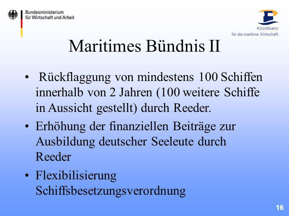 Koordinator für die maritime Wirtschaft. Maritimes Bündnis II.