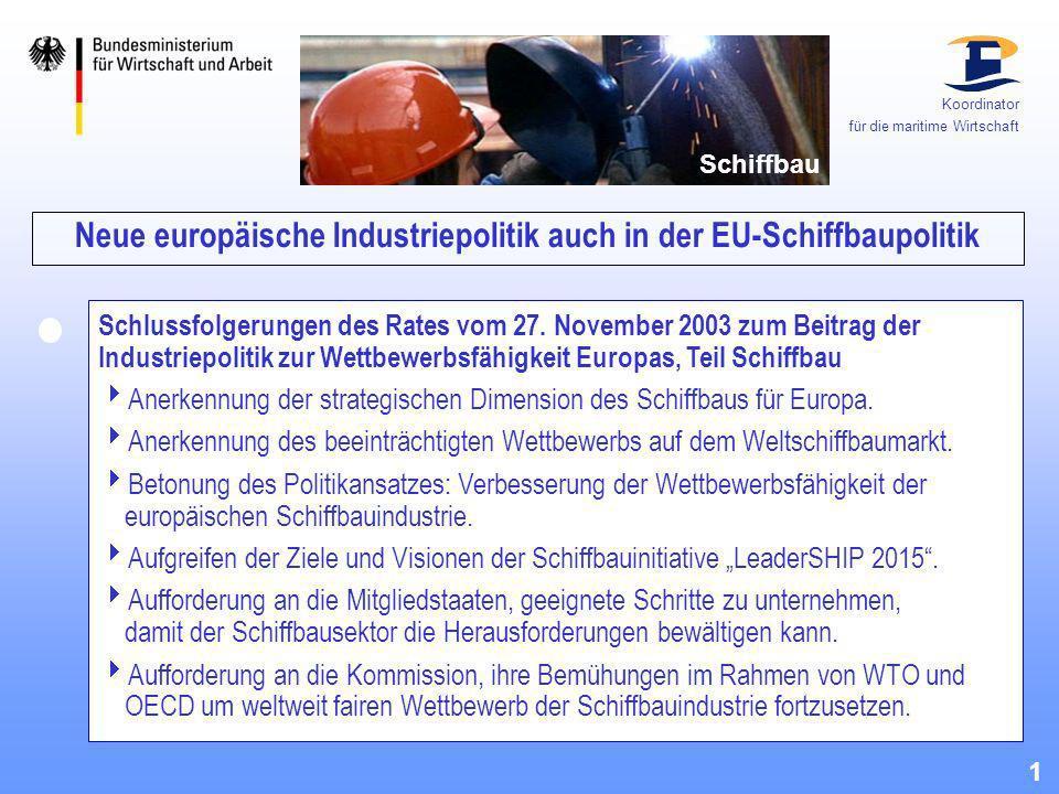 Neue europäische Industriepolitik auch in der EU-Schiffbaupolitik