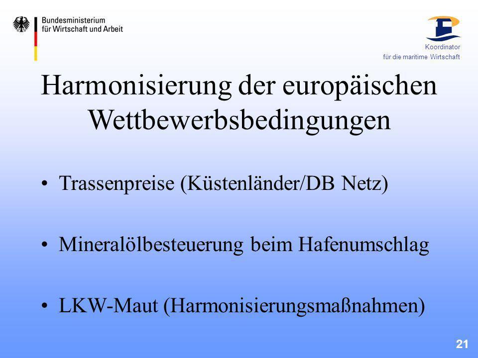 Harmonisierung der europäischen Wettbewerbsbedingungen