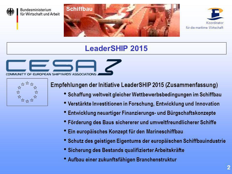 Schiffbau Koordinator. für die maritime Wirtschaft. LeaderSHIP 2015. Empfehlungen der Initiative LeaderSHIP 2015 (Zusammenfassung)