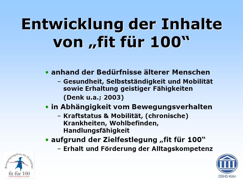 """Entwicklung der Inhalte von """"fit für 100"""
