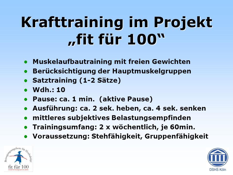 """Krafttraining im Projekt """"fit für 100"""