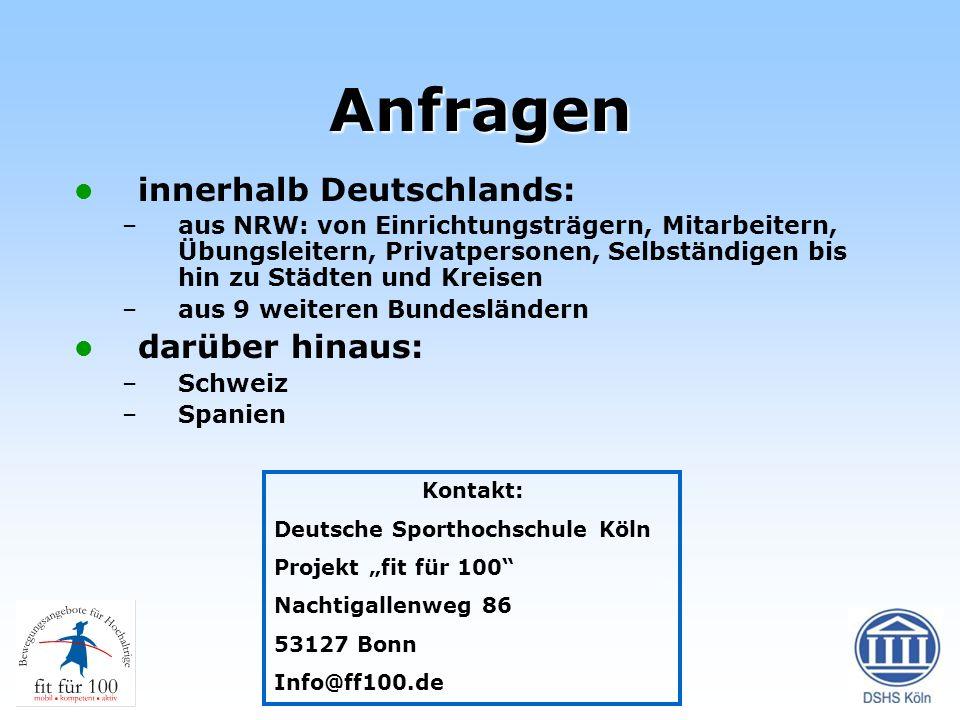 Anfragen innerhalb Deutschlands: darüber hinaus:
