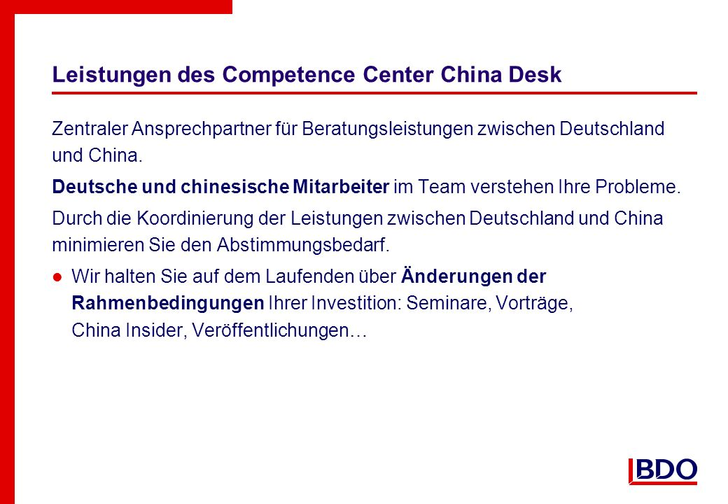 Leistungen des Competence Center China Desk