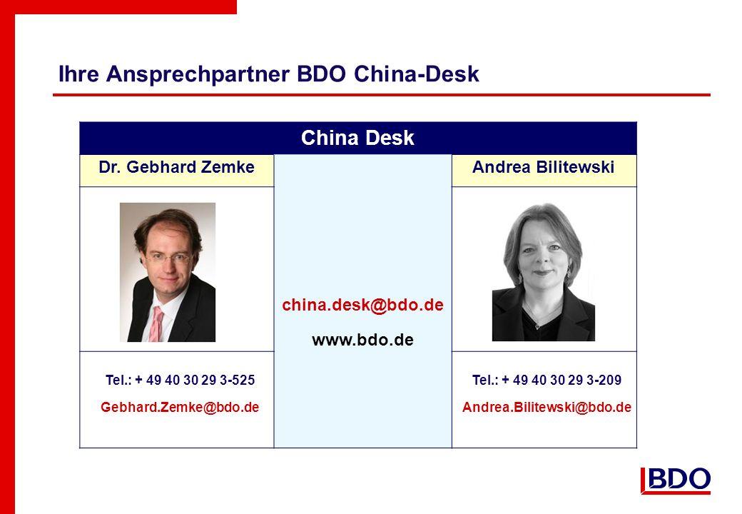 Ihre Ansprechpartner BDO China-Desk