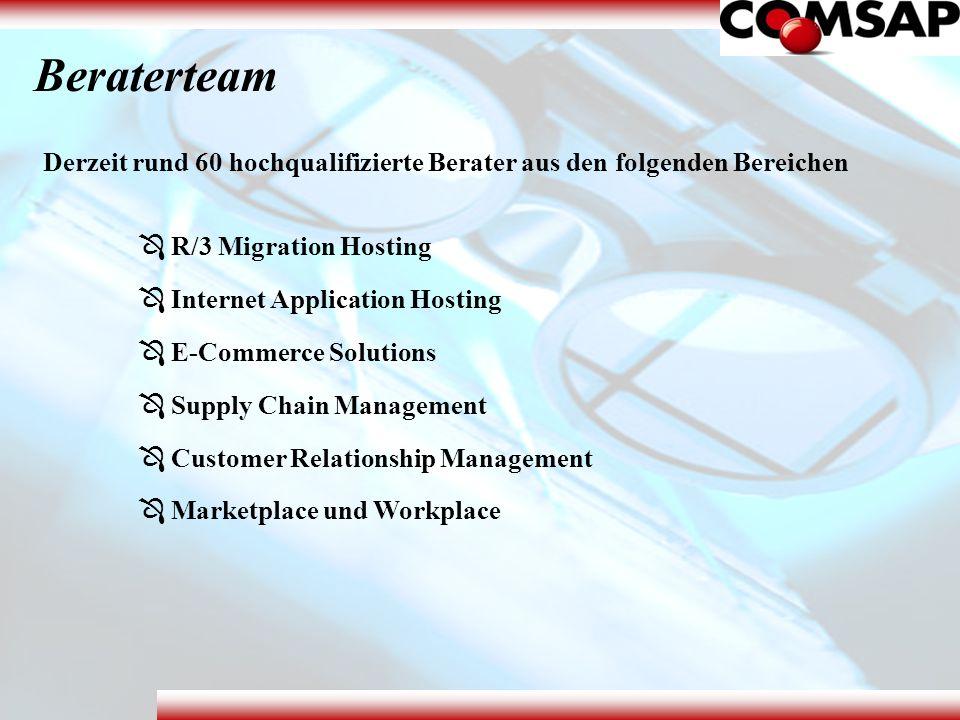 Beraterteam Derzeit rund 60 hochqualifizierte Berater aus den folgenden Bereichen. R/3 Migration Hosting.