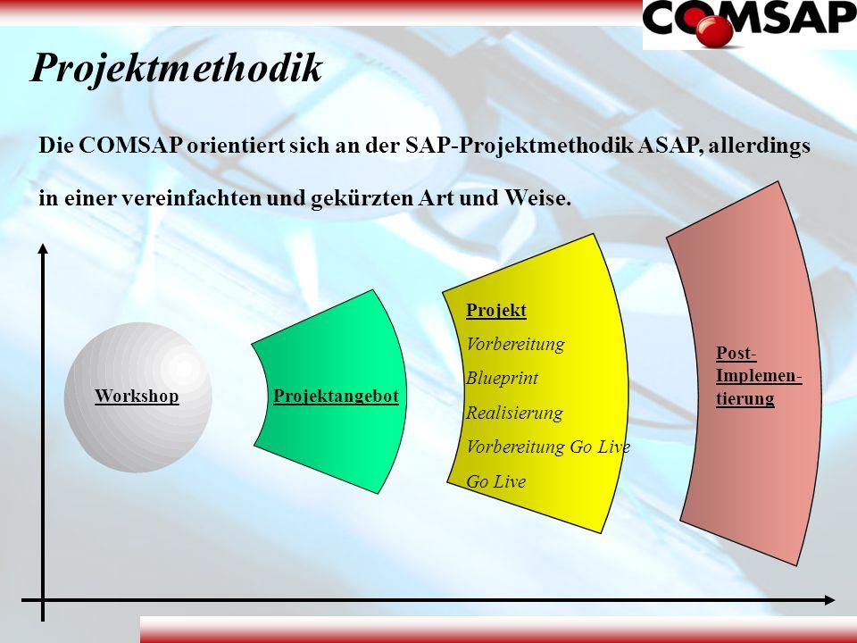 Projektmethodik Die COMSAP orientiert sich an der SAP-Projektmethodik ASAP, allerdings. in einer vereinfachten und gekürzten Art und Weise.
