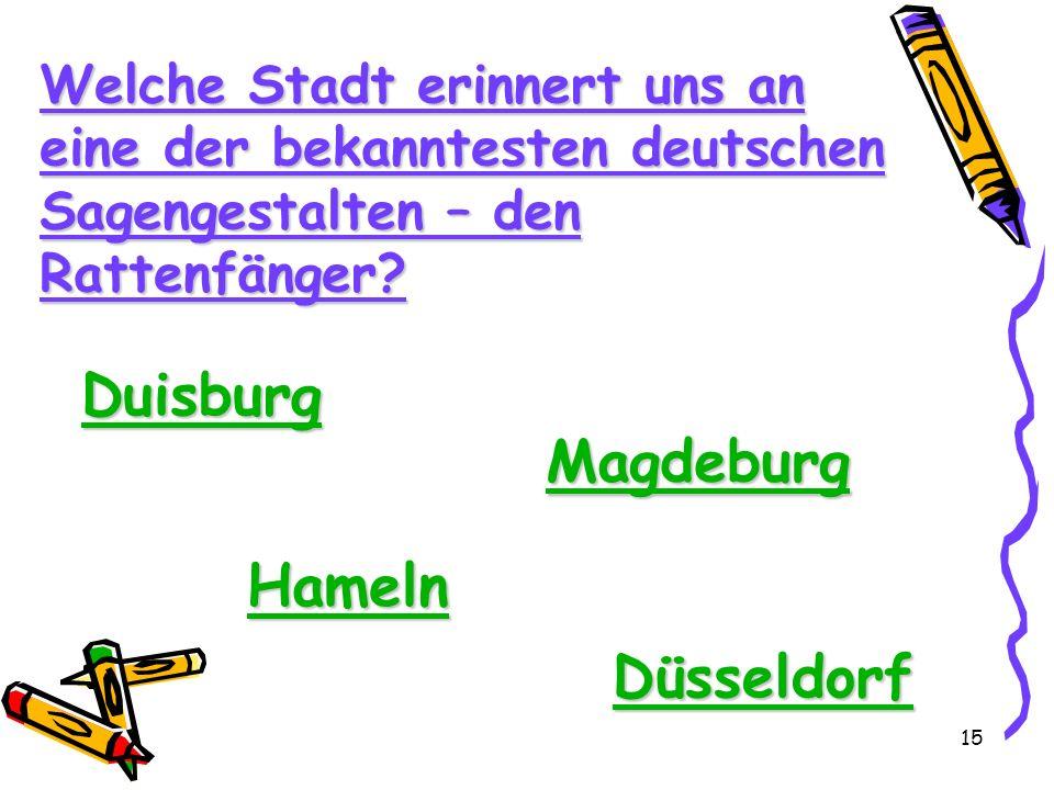 Duisburg Magdeburg Hameln Düsseldorf