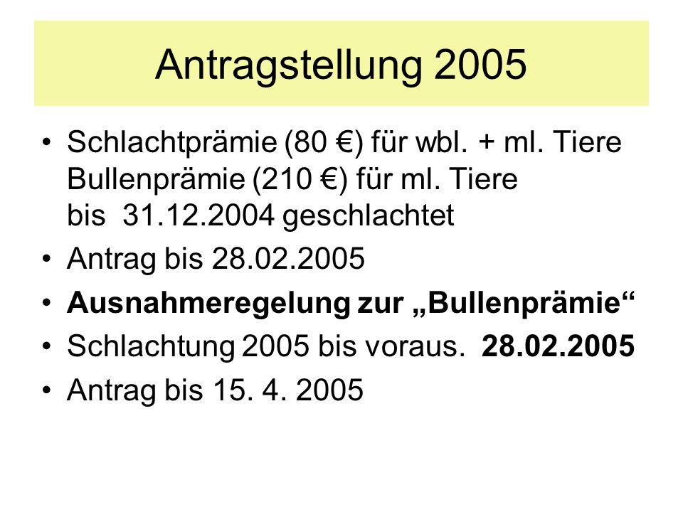 Antragstellung 2005 Schlachtprämie (80 €) für wbl. + ml. Tiere Bullenprämie (210 €) für ml. Tiere bis 31.12.2004 geschlachtet.