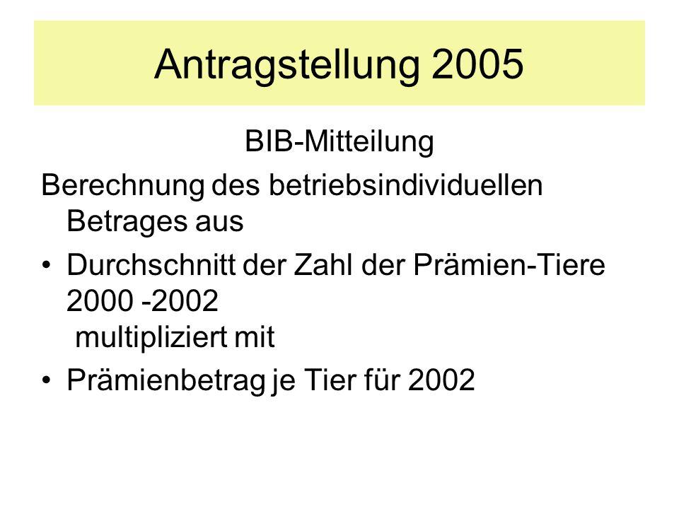 Antragstellung 2005 BIB-Mitteilung