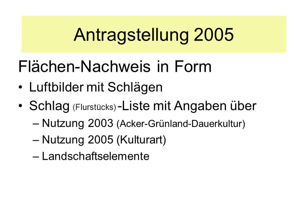 Antragstellung 2005 Flächen-Nachweis in Form Luftbilder mit Schlägen