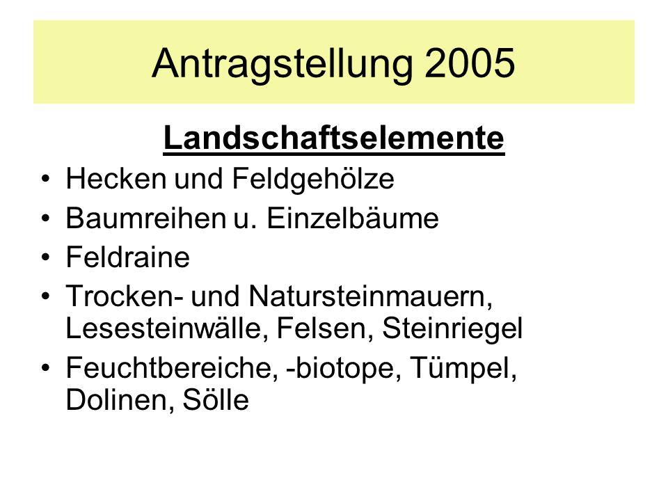 Antragstellung 2005 Landschaftselemente Hecken und Feldgehölze