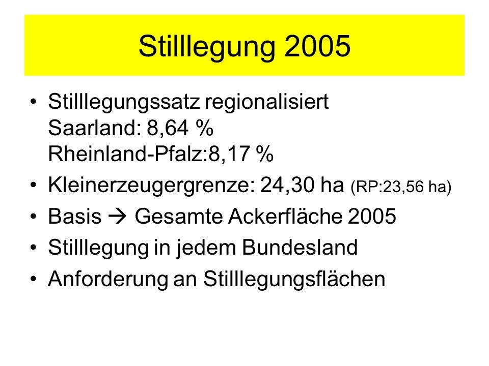 Stilllegung 2005 Stilllegungssatz regionalisiert Saarland: 8,64 % Rheinland-Pfalz:8,17 % Kleinerzeugergrenze: 24,30 ha (RP:23,56 ha)