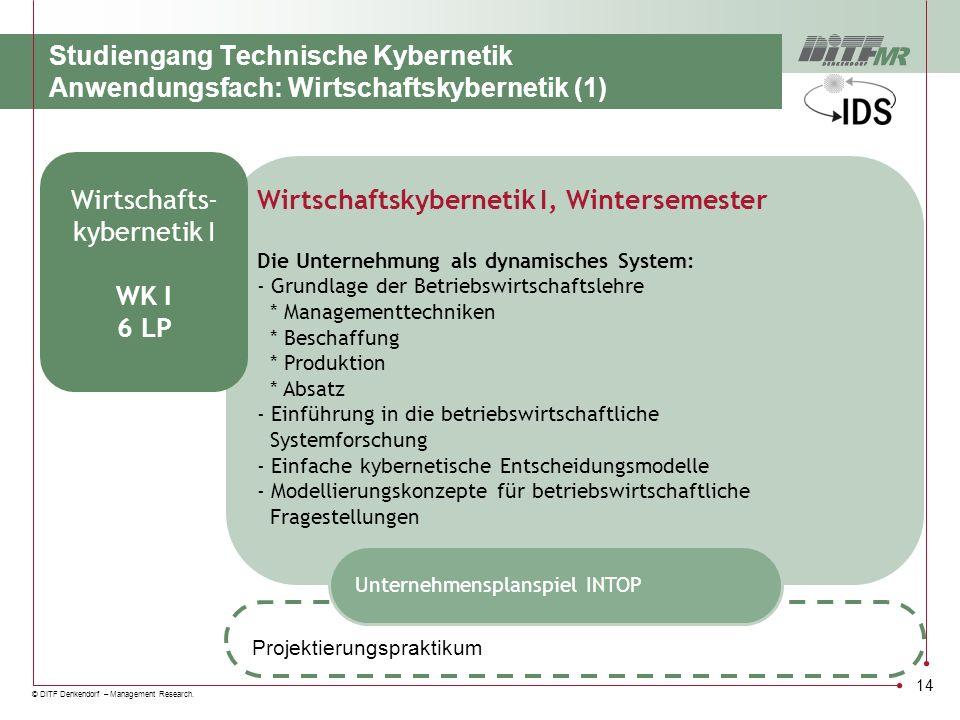 Wirtschaftskybernetik I, Wintersemester Wirtschafts- kybernetik I WK I