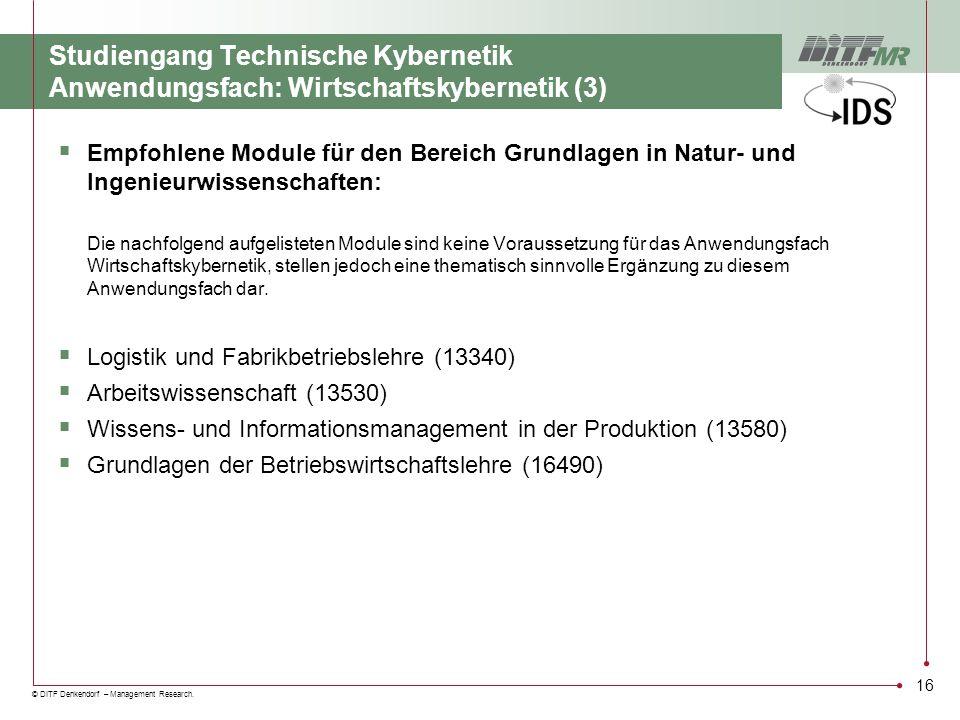 Studiengang Technische Kybernetik Anwendungsfach: Wirtschaftskybernetik (3)