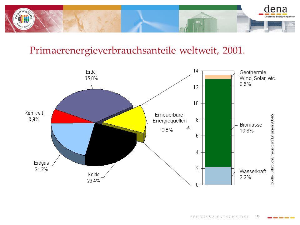 Primaerenergieverbrauchsanteile weltweit, 2001.