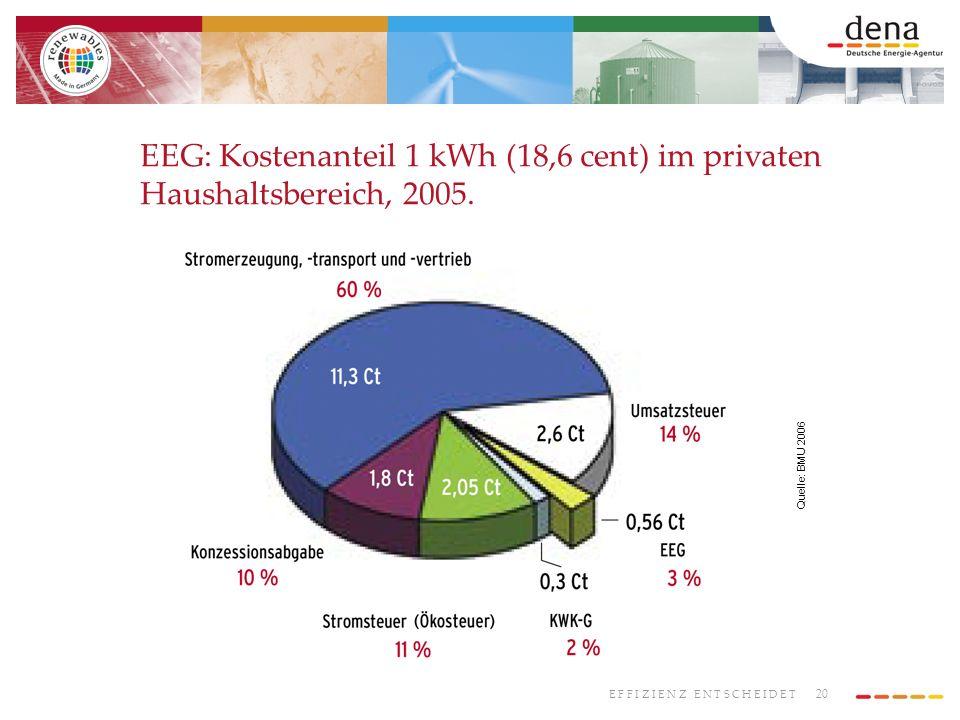 EEG: Kostenanteil 1 kWh (18,6 cent) im privaten Haushaltsbereich, 2005.