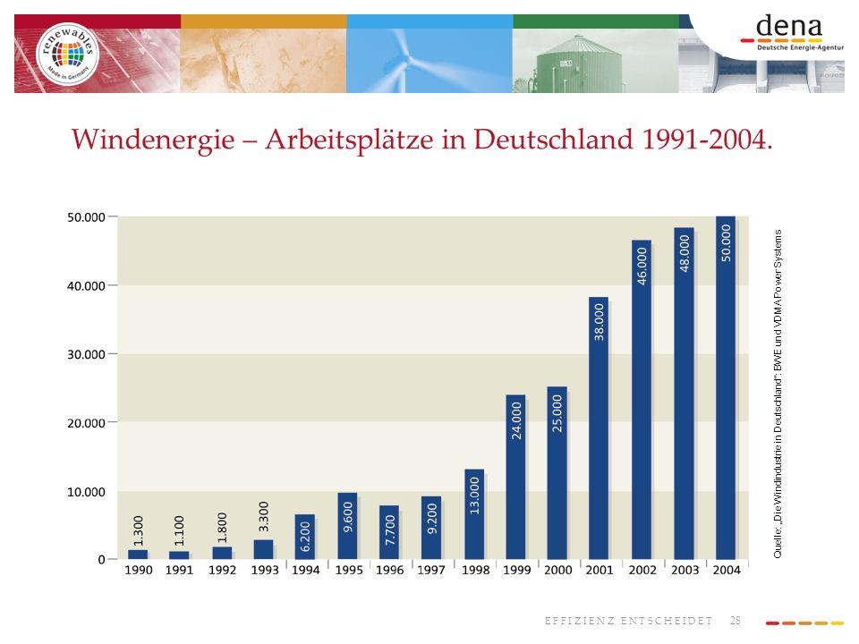 Windenergie – Arbeitsplätze in Deutschland 1991-2004.