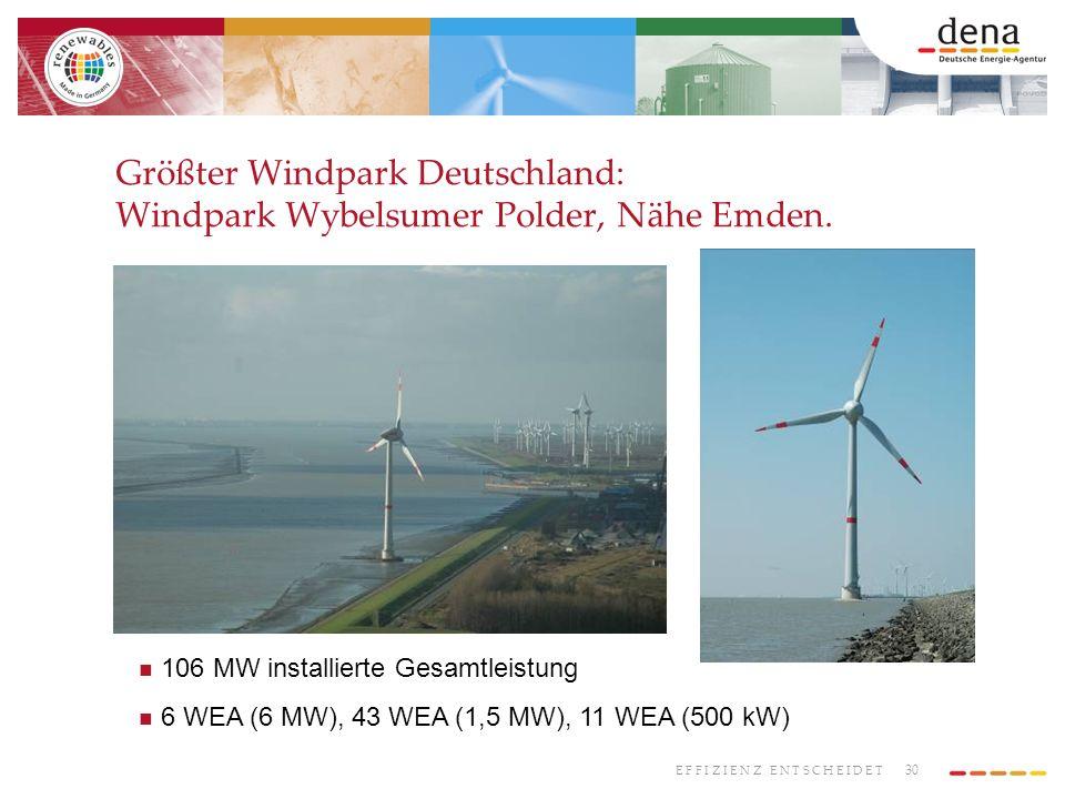 Größter Windpark Deutschland: Windpark Wybelsumer Polder, Nähe Emden.