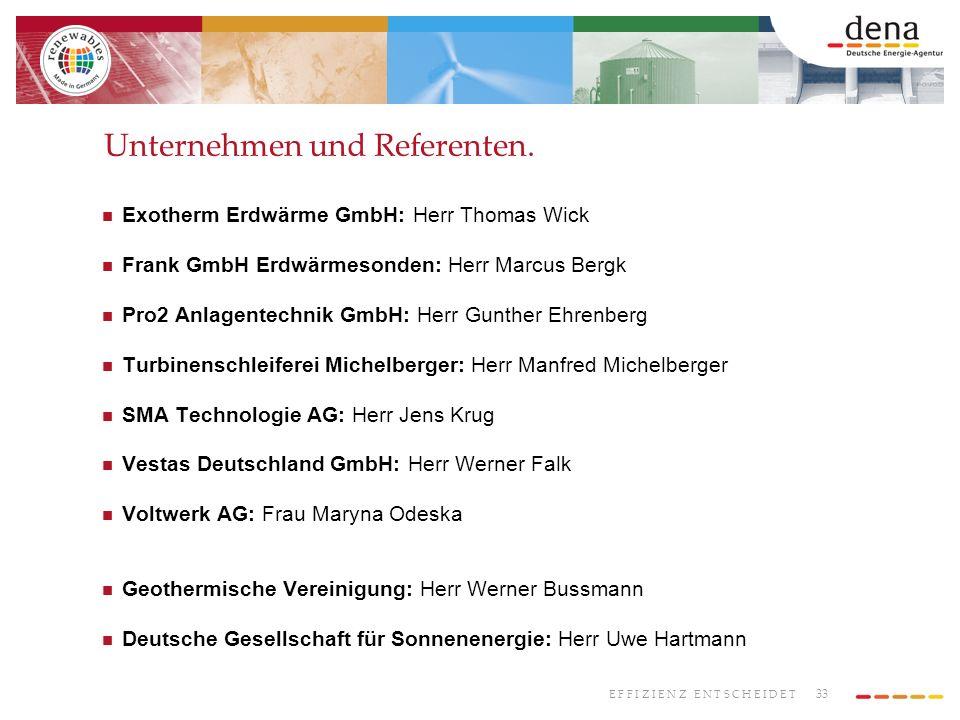 Unternehmen und Referenten.