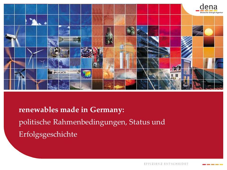 renewables made in Germany: politische Rahmenbedingungen, Status und Erfolgsgeschichte