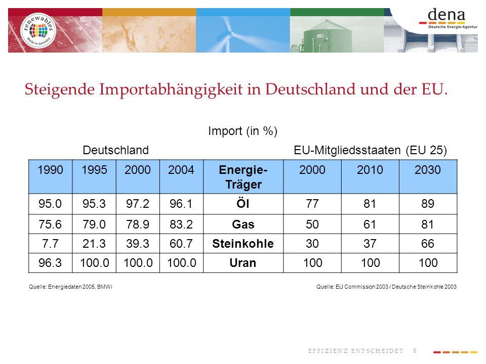 Steigende Importabhängigkeit in Deutschland und der EU.